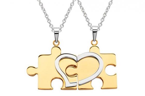 Paarkette Puzzle Gold aus Edelstahl - mit Gravur
