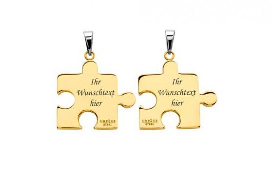 Paarkette Puzzle Gold aus Edelstahl - mit Gravur 1