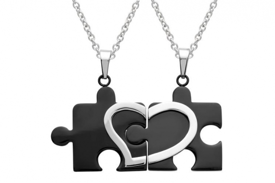 Pendentifs puzzle coeur - Avec gravure laser