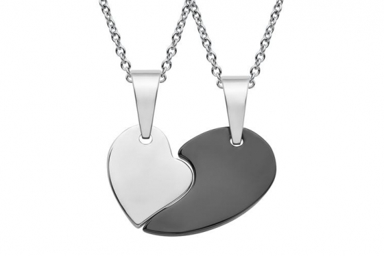 Paarkette Herz aus Edelstahl - mit Gravur 1