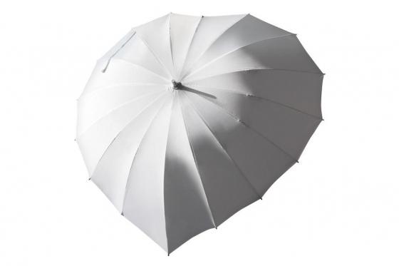 Herz Regenschirm Weiss - Personalisierbar