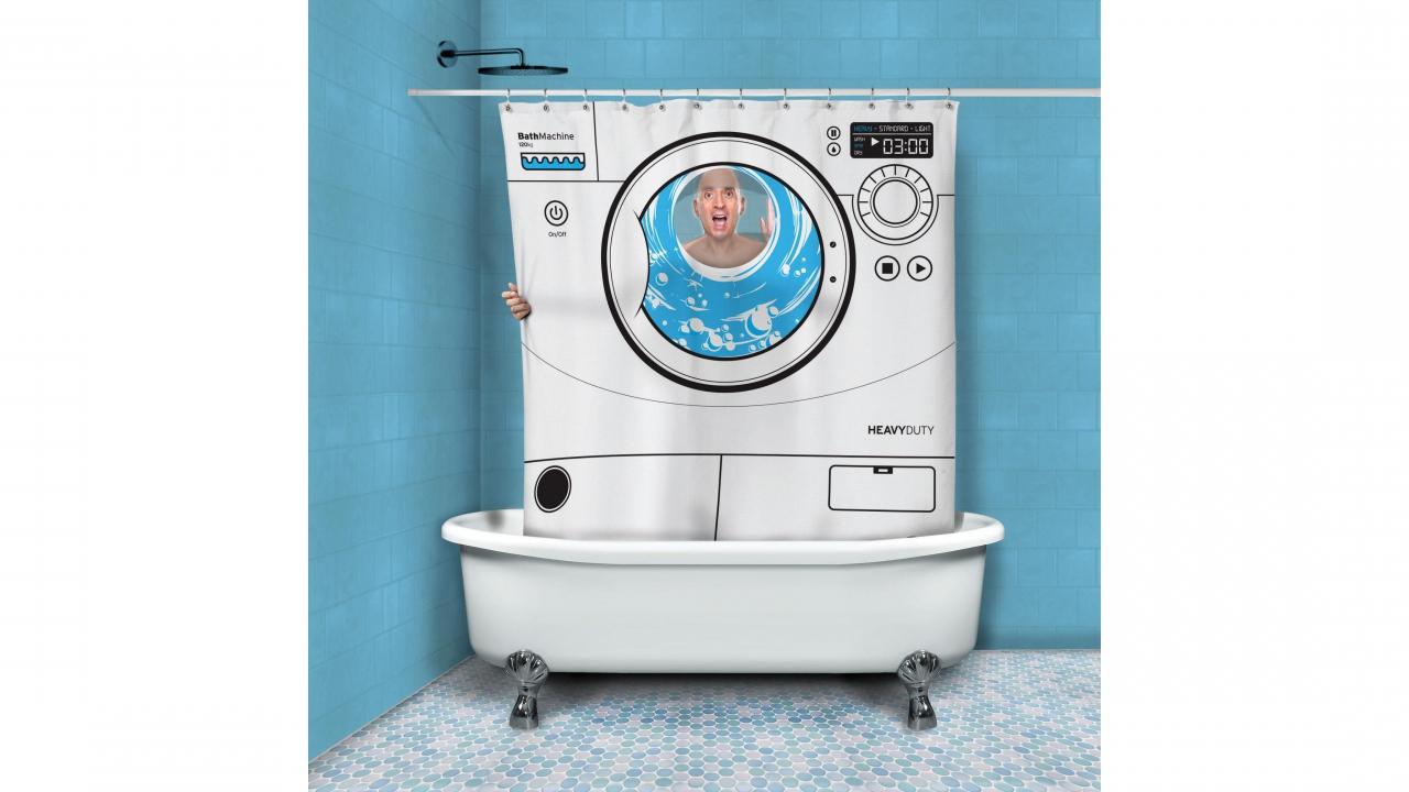 rideau de douche motif machine laver cadeaux24. Black Bedroom Furniture Sets. Home Design Ideas