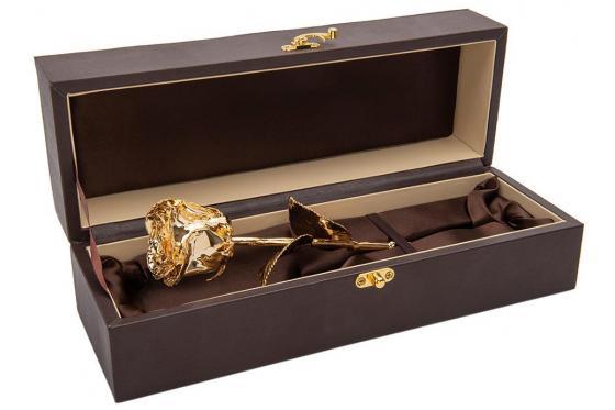 Goldrose - 28cm - personalisiert - in edler Lederbox