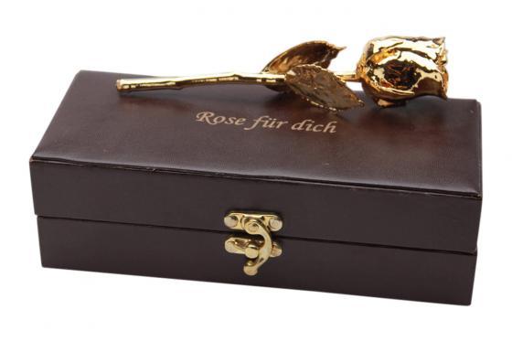 Goldrose - 28cm - personalisiert - in edler Lederbox 1
