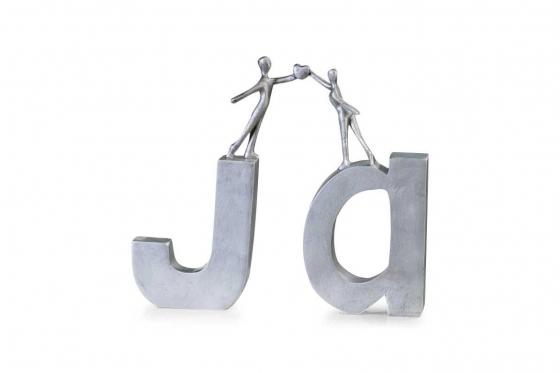 Schriftzug JA - Mit Figuren