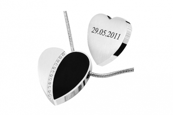 Chaîne acier coeur - Avec zirconia, personnalisable