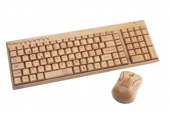 Bambus Tastatur - mit Funkmaus von Bambuu