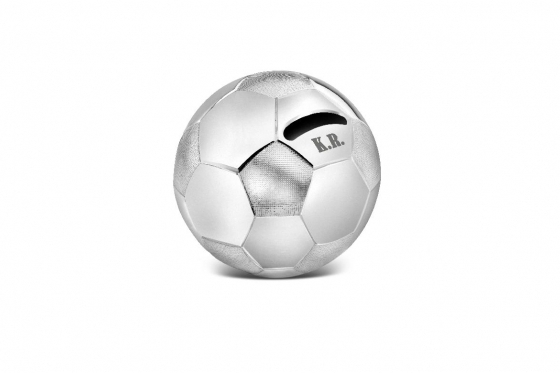 Fussball Spardose - personalisierbar, versilbert
