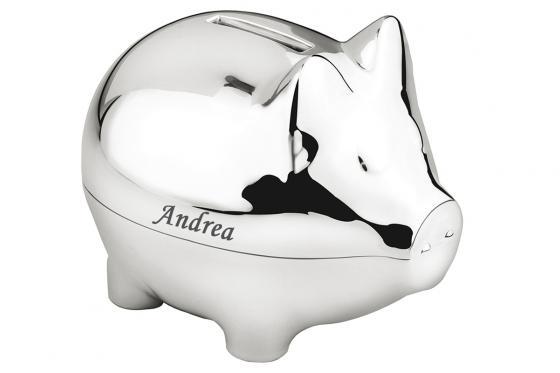 Spardose Schweinchen - personalisierbar, versilbert