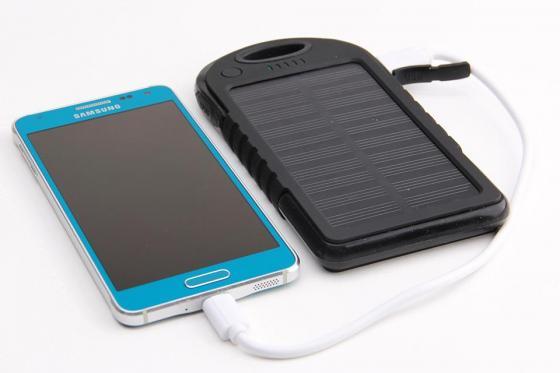 Solar Powerbank Schwarz - für Smartphone und USB-Geräte