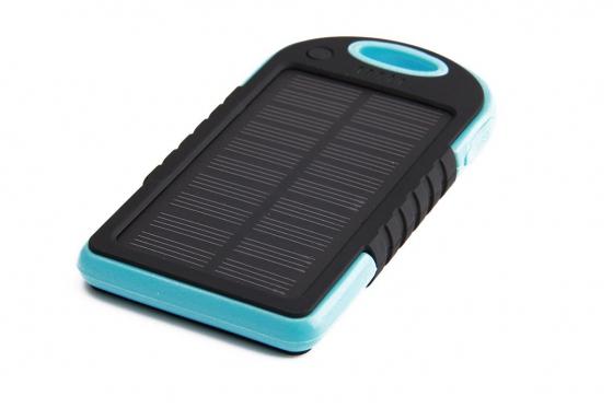 Solar Powerbank Blau - für Smartphone und USB-Geräte