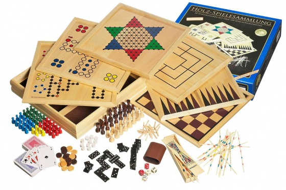 Collection de jeux en bois 100 - jeux de société, cartes, dés et Co.