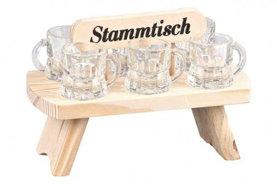 Stammtisch aus Holz - mit 6 Schnapsgläsern