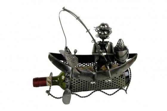 Porte bouteille - Pêcheur dans son bateau