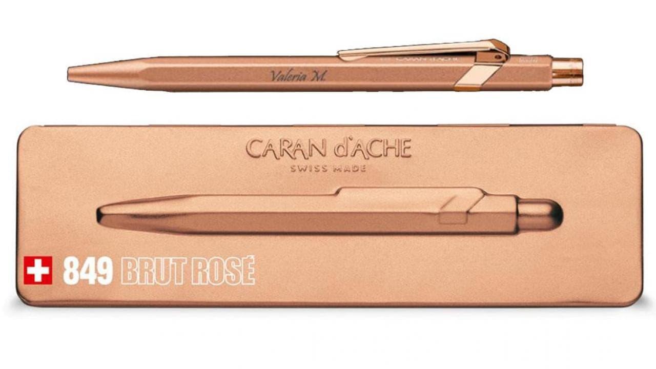 Kugelschreiber mit Gravur rosegold//schwarz mit Etui
